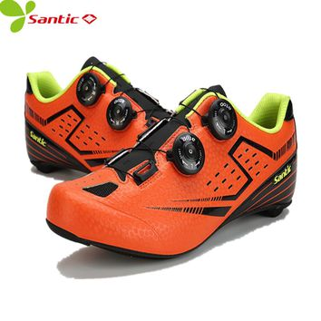 Santic Men's Cycling Shoes Carbon Fiber Auto-locking Racing Bicycle mtb Shoes brand Cycling Riding Sneaker off-road bike shoes