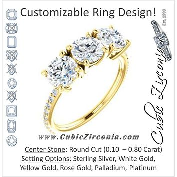 Cubic Zirconia Engagement Ring- The Mary Helen (Customizable Triple Round Cut Design with Ultra Thin Pavé Band)