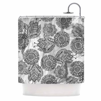"""Julia Grifol """"Flowers In Gray"""" Black Gray Vector Shower Curtain"""
