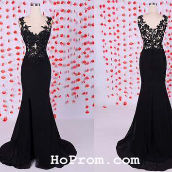 Black Long Lace Prom Dresses Evening Dresses