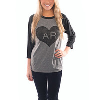 Vintage Arkansas Heart Long Sleeve Tee Raglan
