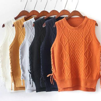 CREYIH3 Hedging new winter lace stitching round neck knit sweater vest vest female