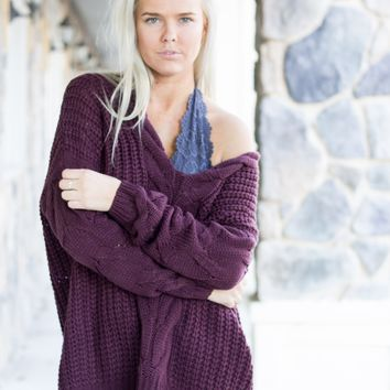 Fireside Cable Knit Sweater Burgundy