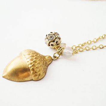 Gold Acorn Necklace with Vintage Crystal Ball Charm