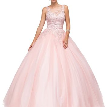Dancing Queen Bridal - 1142 Sheer and Sparkling Sleeveless Ball Gown