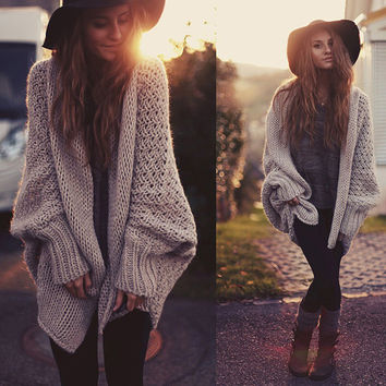 Fashion knit Cardigan Sweater Coat