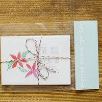 Coral and Mint Notecards Blank Cards Thank You Card I love You Note Pink Flower Stationary Set of 4