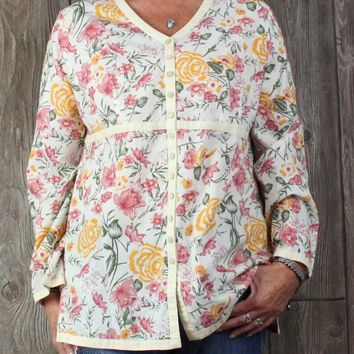 Pretty Orvis Blouse L size Ivory Pink Green Golden Yellow Floral Tunic Top Cotton