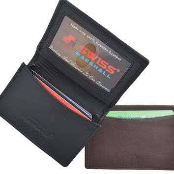 Swiss Marshal RFID Blocking Soft Genuine Leather Expandable Credit Card Outside ID Business Card Holder Wallet SW-RFID-P70