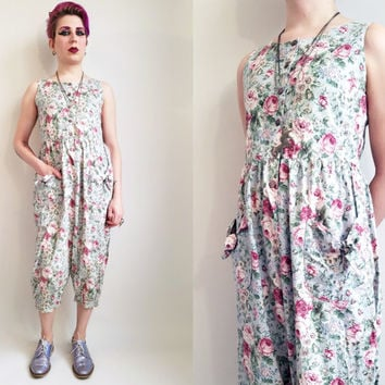 80s Onepiece Floral Jumpsuit Vintage 80s Romper Womens Flower One Piece 80s Clothing 80s Jumpsuit Laura Ashley Inspired Floral Romper