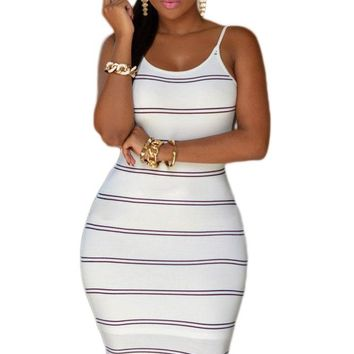 White Black Stripes Open Back Bodycon Dress