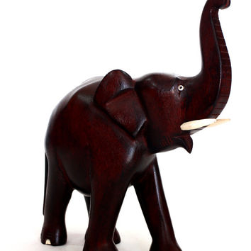 Elephant Figurine - Hand wood Mahogany colored carved from old Sri Lanka technology