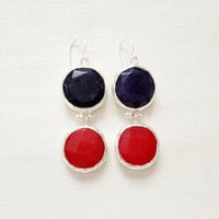 LARGE dangle long  DUAL bright red and navy blue gemstone earringssilver gemstone earrings Israel jewelry