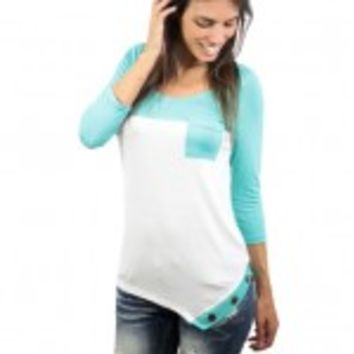 Asymmetrical White And Mint Top