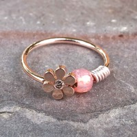 14kt Rose Gold Daisy Nose Hoop Nose Ring