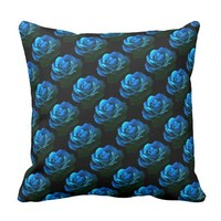 Blue Rose Outdoor Pillow