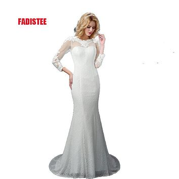 New arrival elegant wedding party Dresses lace Vestido de Festa mermaid appliques sexy backless free shipping