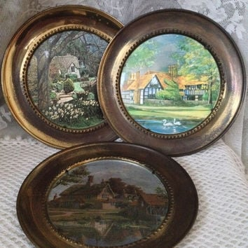 Rustic Brass Wall Plates, Foiled Tudor Cottage Scenes, Charming English Countryside Wall Decor, Vintage 1960s, 70s Foil Art, Made in England