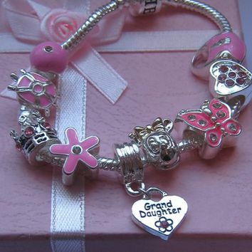 Kids Pink Granddaughter Bracelet