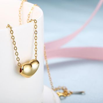VALENTINES INSPIRED SOLID ITALIAN HEART SHAPED NECKLACE SET IN 14K GOLD