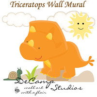 DINOSAUR MURAL TRICERATOPS Wall Decals Childrens Bedroom Kids Room Baby Girl Boy Nursery Prehistoric Dino Theme Playroom Stickers Art Decor