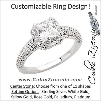 Cubic Zirconia Engagement Ring- The Erika (Princess or Asscher Cut Halo-Style with Pave Band and Peekaboos)