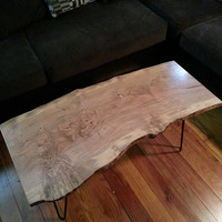 Cherry Burl Live Edge Coffee Table. Ready to Ship!  Hair Pin Legs. Mid Century Coffee Table