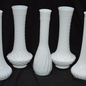 Lot of 5 Milk Glass Bud Vases