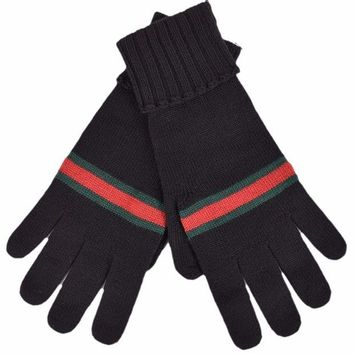 DCCKWA2 Gucci Men's Black Green Red Web Stripe Wool Winter Mittens