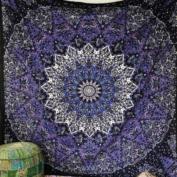 BLUE PSYCHEDELIC star mandala tapestry wall hanging hippie bohemian bedding  bedspread cover boho ethnic home decor 223acc0d1
