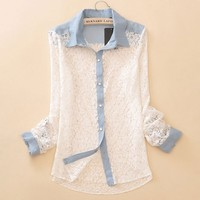 A 072710 Denim stitching lace hollow long-sleeved shirt
