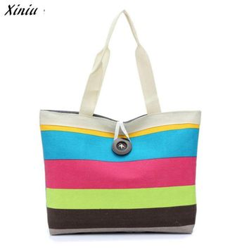 XINIU Clutch Bag Striped Colorful Canvas Bag Women Casual Tote Large Capacity Bags Summer Beach Shoulder Bag Sac A Main#121
