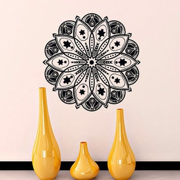 Wall Decals Mandala Indian Pattern Yoga Oum Om Sign Decal Vinyl Sticker Home Decor Art Murals Bedroom Studio Window MN485