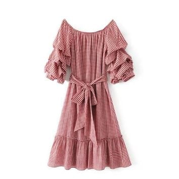 2017 women vintage off shoulder plaid kneeth dress elegant vestidos Cascade lantern sleeve sashes slim dresses DS128