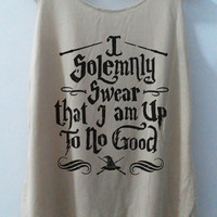 Harly Pot I Solemnly Swear that I am Up To No Good Tshirt Pop Punk Rock Tank Top Vest Women T shirt  T-Shirt SizeS,M,L