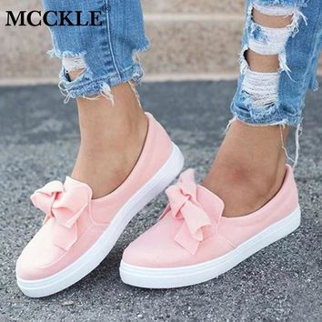 MCCKLE Women Loafers Plus Size Platform Slip On Bowtie Flat Shoes Sewing Casual Bowknot Shoe For Female Flock Moccasins Footwear