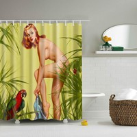 Svetanya Waterproof Shower Curtains Polyester Bathroom Curtains With Hooks 180x180cm sexy Lady Decorative Bathtub
