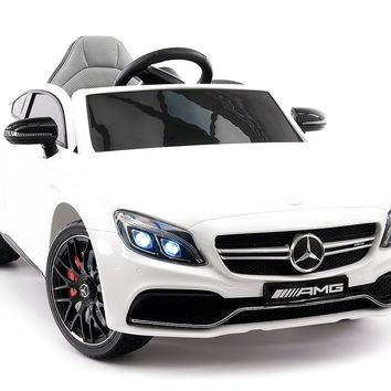 Mercedes C63S 12V Kids Ride-On Car with R/C Parental Remote | White
