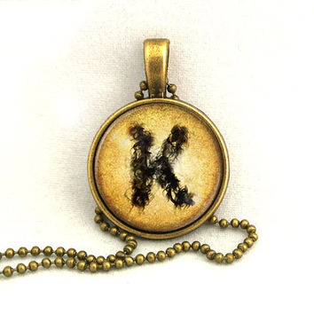 10 SALE Necklace Custom Initial Smoky Ink Letter by timegemstone