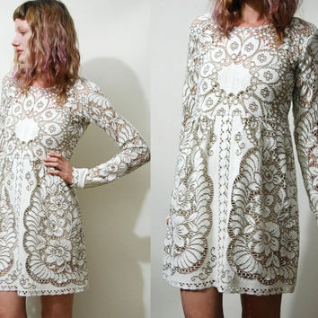 FULL LACE Babydoll DRESS Mini White/Beige Long sleeve Handmade ooak Cotton Sheer Boho Bohemian Vintage vtg 70s xs