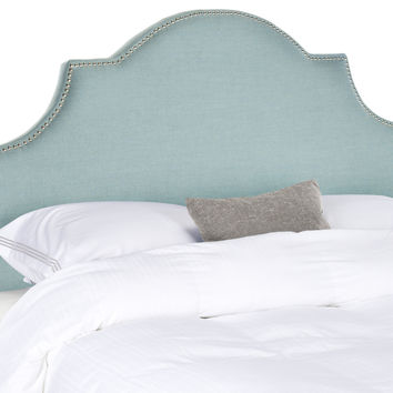 Hallmar Sky Blue Arched Headboard - Silver Nail Head King