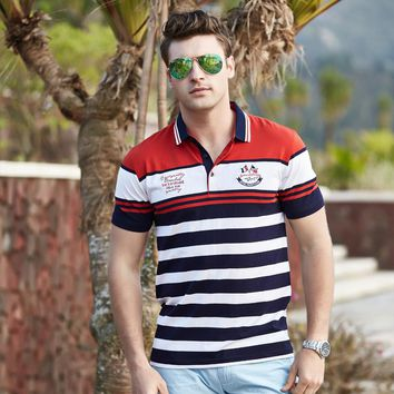 Camisa polo homens Tace & Shark brand clothing cotton striped shark polo shirt men high quality yachting men polo hommes chemise