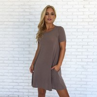 My All In All Jersey Shift Dress In Mocha