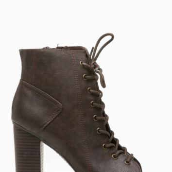 Brown Faux Leather Chunky Lace Up Booties @ Cicihot. Booties spell style, so if you want to show what you're made of, pick up a pair. Have fun experimenting with all we have to offer!