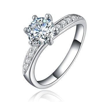 JEXXI Classic Women Wedding Jewelry High Quality 925 Stamp Sterling Silver Finger Band 6 Claw Engagement Anniversary Rings