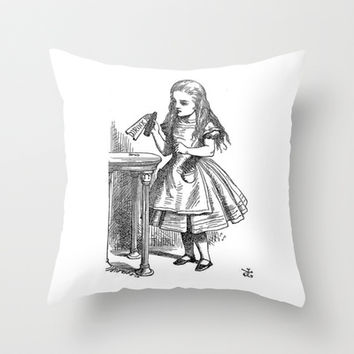 Drink Me vintage Alice in Wonderland emo goth antique book sketch drawing print  Throw Pillow by iGallery