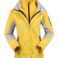 women's Skiing Jackets+Fleece jacket lady outdoor sports coat women ski suit warm waterproof 2 in 1 female ski wear coat