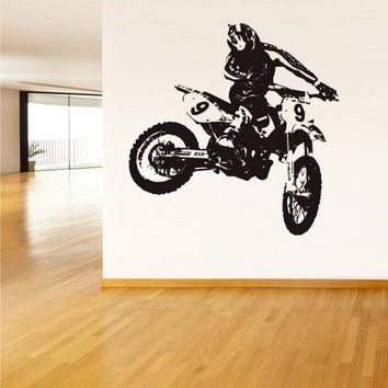 rvz1502 Wall Vinyl Sticker Bedroom Decal Tribal Dirt Bike Moto Motorcycle