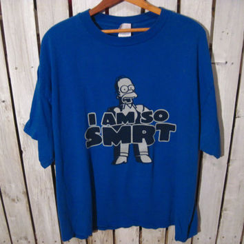 "Homer Simpson ""I'm So Smrt"" T-Shirt, Size XL. The Simpsons Upcycled Clothing. Reconstruction Available"