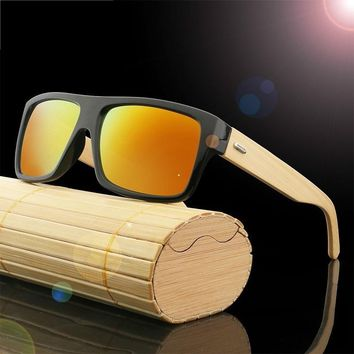 Bamboo Wood Handmade Temple Wayfarer Polarized Sunglasses With Sunglasses Case UV400
